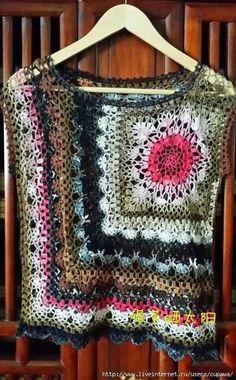 Marina -- crochet top featuring granny square or motif block.