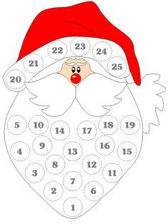 template for advent Santa. Add a cotton ball each day until Christmas arrives. Childrens Christmas, Preschool Christmas, Christmas Activities, Christmas Crafts For Kids, Christmas Printables, Christmas Projects, Holiday Crafts, Christmas Decorations, Christmas Makes