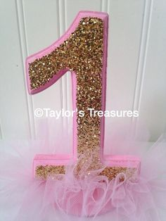 Taylors Treasures - 1st Birthday Centerpiece - Photo Prop Pink And Gold- Tutu Sparkle Cake Topper -Cake Smash -Any Colors -Perfect for Photo on Etsy, $14.99