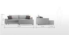 Mayne Right Hand Facing Corner Sofa Bed, Clear Grey Stone   made.com
