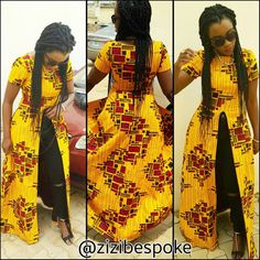Zizibespoke Block Fitted Slit TopAfrican Print Tops by Zizibespoke