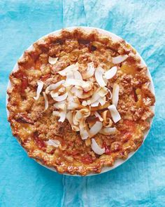 Apricot Pie with Coconut Crumble - A sweet coconut crumble offsets tart apricot filling in this out-of-the-ordinary summer pie.