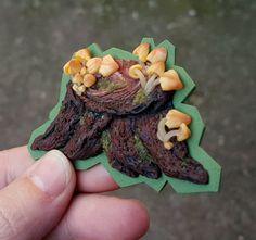 Fridge magnets refrigerator tree mushrooms hand by PolymerAnna