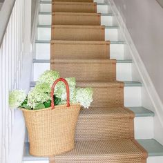 Looking for some hall inspiration for my staircase. Love the painted stairs with the natural carpet. Does anyone else like this country look? Decisions Decisions! ! #paintedstairs #naturalcarpet #hallway #interiors #countryinterior #farrowandballpaint