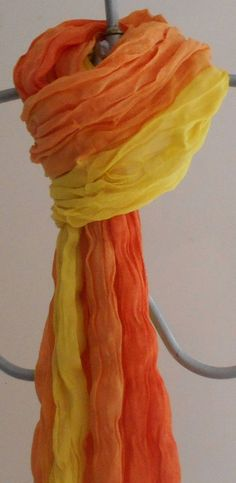 Cotton Scarves, Orange Scarf, Wedding Shawl, Sunset Colors, Fashion Scarves, Summer Scarves, Crinkles, Gradient Color, Scarf Styles
