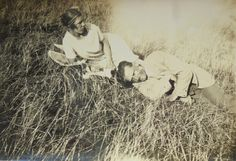 Vintage Summer Photo - Man & Woman Lying on Long Grass by LoosLoft on Etsy