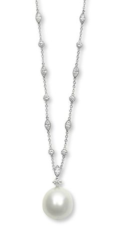 A CULTURED PEARL AND DIAMOND PENDANT NECKLACE, BY TIFFANY & CO. Suspending a cultured pearl pendant, measuring approximately 17.15 x 18.20 mm, from a circular-cut diamond link, to the marquise and collet-set diamond neckchain, mounted in platinum, 16 ins. Signed Tiffany & Co.