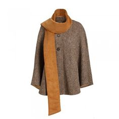 Donegal Herringbone Burren Tweed Cape - Named after a region in County Clare, renowned for its beautiful flora, the Burren cape is a lovely garment for chilly winter days. The fabric is a soft cashmere and wool camel and grey herringbone. Features include 3 buttons and a wrap around scarf with a soft cotton facing. Linens And Lace, Donegal, Herringbone, Tweed, Cape, Duster Coat, Cashmere, Women Wear, Wool