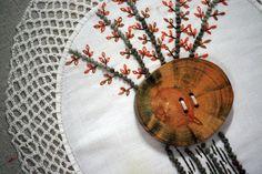 Pillow Home Decor Hand Embroidery Autumn Tree Fall от Waterrose, $65.00