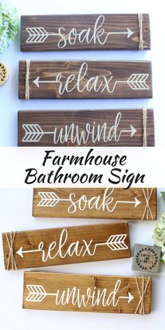 Wash away the stress with these rustic farmhouse signs in your bathroom! Relax Soak Unwind - Bathroom Wall Decor - Farmhouse Bathroom - Rustic Bathroom Decor - Bathroom Signs Wood - Bathroom Arrow Decor #farmhousestyle #farmhousedecorating #farmhousebathroom #woodensigns #farmhousesign #soakrelaxunwind #bathroomdecor #ad