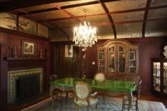 Rosenheim mansion- dining room with spectacular gold leaf Japanese motif on ceiling . (weird table...)