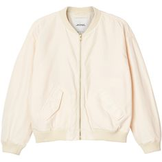 Monki Farah jacket ($53) ❤ liked on Polyvore featuring outerwear, jackets, clothes mix, wilma white, white bomber jacket, white jacket, monki, flight jacket and flight bomber jacket