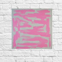 "PINK ABSTRACT ART  Pink Painting White Original Modern Art ""Pink on White"" Original Abstract Painting by Atlanta Abstract Artist Susie Kate"