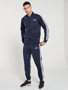 Adidas 3 Stripe Tracksuit - Ink Adidas Outfit, Nike Outfits, Cool Outfits, Nike Clothes Mens, Adidas Tracksuit, Loose Pants, New Trends, Adidas Men, Adidas Jacket