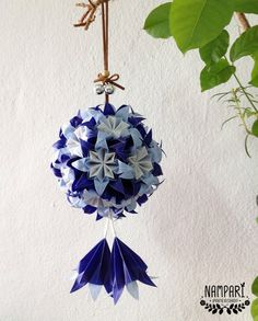 Blue Origami Flower Ball Translucent Christmas Ornament Home Decoration