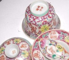 ANTIQUE MILLEFLEUR FAMILLE ROSE Tea RICE BOWL PLATE Chinese CUP Red Seal Mark