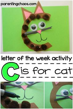 Your child is going to love learning about the letter C while creating an awesome cat. Remember, encourage your child to be as creative as they& like while learning about the letter C. Letter C Activities, Preschool Letters, Montessori Activities, Toddler Activities, Preschool Activities, Toddler Learning, Preschool Education, Letter C Crafts, Alphabet Crafts
