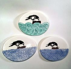 Tea Bag Holder - Crow Dish Kitchen Decor - Ceramic Stoneware - Raven Spoon Rest - Trinket Ring Dish