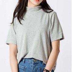 New Fashion 2017 Summer Korean Style All-match Solid Surtleneck Short Sleeve Women T-shirt Female Shirt Fresh Color Women Tops