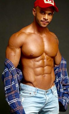 Perfect chest in bulging jeans.