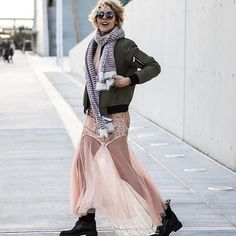 Fashion blogger extraordinaire Elena Galifa in #Sagiakos FW16/17 army boots knows how to rock a street style look! Fall Winter, Autumn, Street Style Looks, Every Woman, Bootie Boots, Sequin Skirt, Tulle, Army, Booty