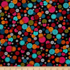 Kanvas Sew Sew Lots of Buttons Black/Multi from @fabricdotcom  Designed by Maria Kalinowski for Kanvas in association with Benartex, this cotton print fabric brings buttons to life with bright colors and varying sizes. It's perfect for quilting, apparel and home decor accents. Colors include black, grey, yellow, shades of orange and blue, green and shades of pink.