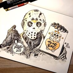 """Inktober Day 31 """"MASK"""" Made it through my Inktober! That's 186 drawings! Thanks for the kind words & support. You guys are the best :) Make It Through, Mask Making, Kind Words, Inktober, Vikings, Fanart, Sketches, Money, Cool Stuff"""