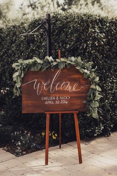 Beautiful wooden sign! View the full wedding here: http://thedailywedding.com/2016/08/15/elegant-garden-wedding-nicky-chelsea/