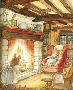 Brambly Hedge and some things never change.  He's sitting on his butt and she is working, sigh.