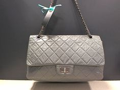 CHANEL JUMBO REISSUE GREY LAMBSKIN MADEMOISELLE BIJOUX SHOULDER BAG Like New | Buya