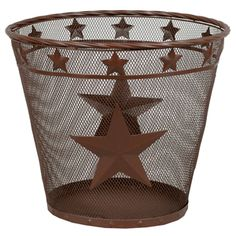 Metal Star Waste Basket - The classic western Metal Star Waste Basket features brown-finished metal mesh studded with metal stars and rivets. Measures x x ~