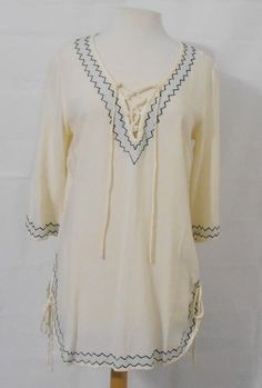 7a732c6d0a5b82 SINCERELY MARY - BOHEMIAN CREAM COLOR PEASANT TOP - EMBROIDERY - NWT -  #5566 #