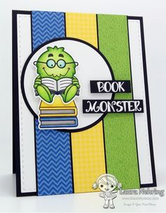 Your Next Stamp - Silly Book Monsters stamps and dies, Stitched Rectangles Dies, Circles Dies