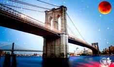 Two star crossed lovers meet under the Brooklyn Bridge as a Harvest Moon cast a shadow over them. Far Away Eyes, Ben Stein, Star Crossed, Harvest Moon, Brooklyn Bridge, Art World, Wood Print, Cool Artwork, Wonders Of The World
