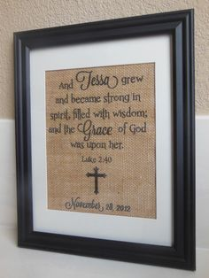 Placing baby's name in Bible verse. Love this!