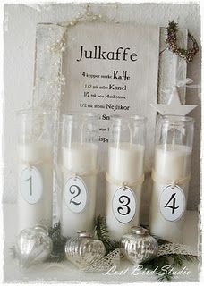 simple white candles. occasionally you can get them plain at the dollar store (usually they picture mary).