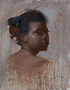"""Looking Back"" - Suchitra Bhosle, oil on canvas, 2011 {contemporary figurative… Figure Painting, Painting & Drawing, Painting Workshop, African American Art, People Art, Portrait Art, Art Techniques, Art Oil, Figurative Art"