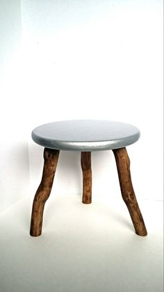 Wood stool metallic stool distressed painted stool industrial stool stained wooden stool silver stool photography prop 3 legged stool by TheAntiqueFarmhouse USD) Metal Stool, Wood Stool, Industrial Stool, Industrial Furniture, Coastal Decor, Rustic Decor, Silver Metallic Paint, Doll Display, Small Furniture