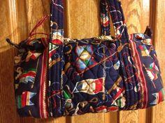Vera Bradley Rare Regatta Nautical Medium Size Shoulder Bag Great Cond Vintage
