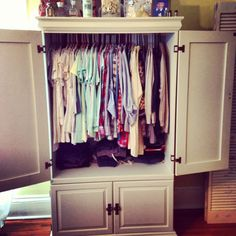 Re-purposed an old entertainment center into a clothes armoire. Has potential! An old entertainment center was converted into a wardrobe. Has potential! Repurposed Furniture, Diy Furniture, Wardrobe Furniture, Furniture Makeover, Bedroom Furniture, Armoire Cabinet, Armoire Redo, Old Entertainment Centers, Entertainment Furniture