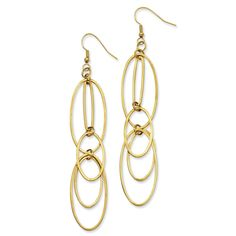 Stainless Steel Yellow IP-plated Multiple Ovals Dangle Earrings SRE470GP