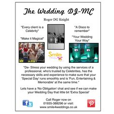Wedding Show Flyer Wedding Show, Wedding Dj, Wedding Reception, Peace Of Mind, How To Memorize Things, Stress, Entertaining, How To Make, Wedding Reception Venues