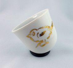 YOU / Porzellan Espressotasse Spatz gold von soprana design auf DaWanda.com