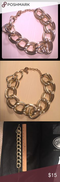 "Gold necklace Gold chain link necklace. About 18"" in length from clasp to clasp. Gold in color. Jewelry Necklaces"