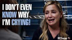 """I don't even know why I'm crying!"" Arizona Robbins, Grey's Anatomy quotes"