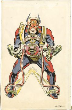 Original concept drawing of Orion of the New Gods by Jack Kirby, circa 1966. Kirby did the hand-coloring as well.