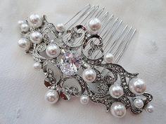 Vintage style rhinestone zirconia bridal hair pearl by VogueHouse