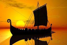Viking ship, sunset, silhouette