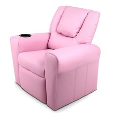 Childs Recliner Chair Luxury PU Leather Padding w/ Drink Holder Pink