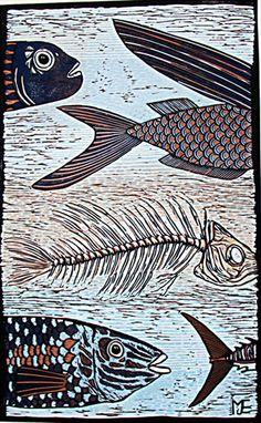 Fish art Big Blue linocut reduction limited edition by artcanbefun
